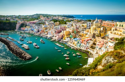 Panoramic view of Corricella village on Procida island in Italy