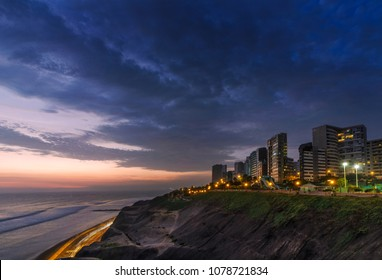 Panoramic view of the Costa Verde high way in sunset ( MIRAFLORES, LIMA, PERU)