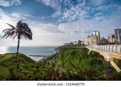Panoramic view of Costa Verde and Villena Rey bridge in Miraflores district in Lima, Peru