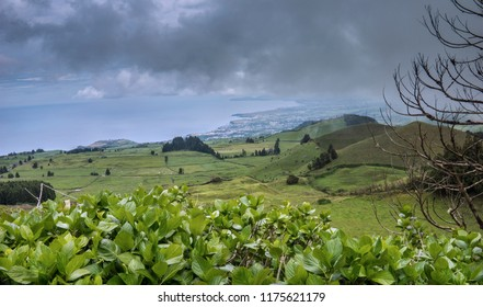 Panoramic view of the country side of Sao Miguel Island, Azores archipelago, Portugal, Europe