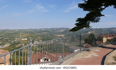 a panoramic view of the countryside with vineyards as seen from the town of Diana di Alba, Piedmont, Italy.