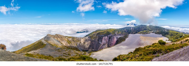 Panoramic view to the Crater of Irazu Volcano from Mirrador at Irazu Volcano National Park, Costa Rica