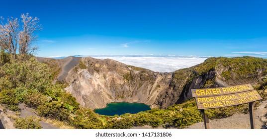 Panoramic view to the Crater of Irazu Volcano (Principal Lake)at Irazu Volcano National Park - Costa Rica