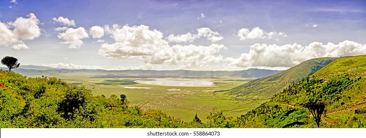 Panoramic view of Crater  Ngorongoro at the afternoon / National Park Crater  Ngorongoro
