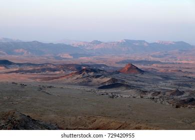 Panoramic view of Crater Ramon in Negev desert, Israel.