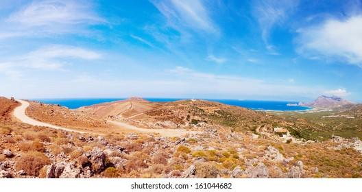 Panoramic view of a Cretan landscape, Greece