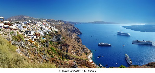 panoramic view with cruise boats - Santorini