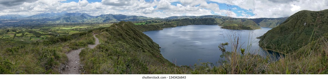 panoramic view of the Cuicocha Lagoon in Ecuador