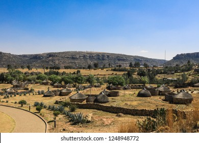 Panoramic View to the Cultural Village, Thaba-bosiu, Lesotho