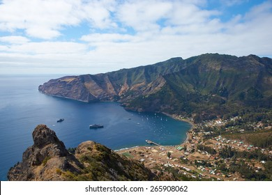 Panoramic view of Cumberland Bay and the town of San Juan Bautista on Robinson Crusoe Island, one of three main islands making up the Juan Fernandez Islands some 400 miles off the coast of Chile