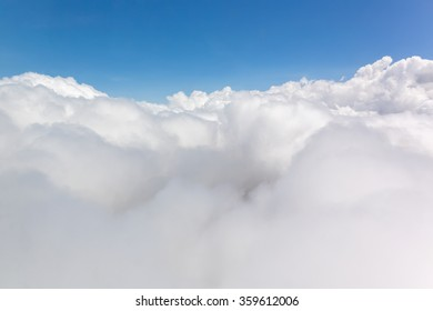 Panoramic view of cumulus clouds from above