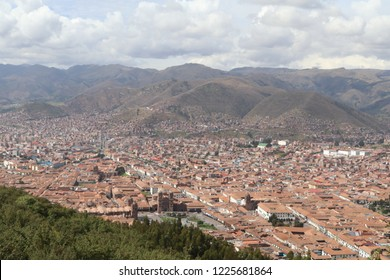 The panoramic view of Cusco city from Sacsayhuaman fortress.