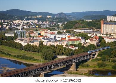 Panoramic view of the Czech city of Usti nad Labem. Bohemia. Czech Republic.