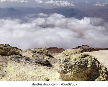 Panoramic view from Damavand mountain, the highest volcano in Iran