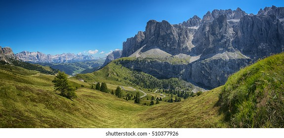 Panoramic view from Dantercepies on the Sella Group and Mountains of Alta Badia, Dolomites - Trentino-Alto Adige, Italy