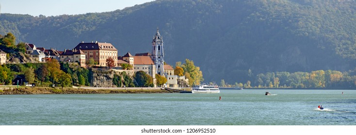 panoramic view of the Danube valley at the little town of Duernstein in the so called Wachau, Austria