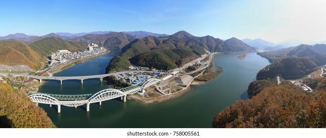 Panoramic view of Danyang city in Danyang country in South Korea