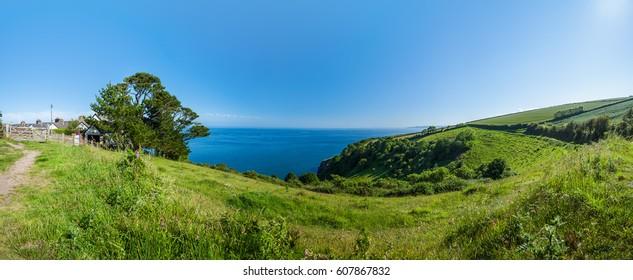Panoramic view Dartmouth coast, Devon, UK