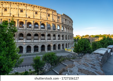 Panoramic view at dawn of coliseum in Rome with anybody during Covid emergency