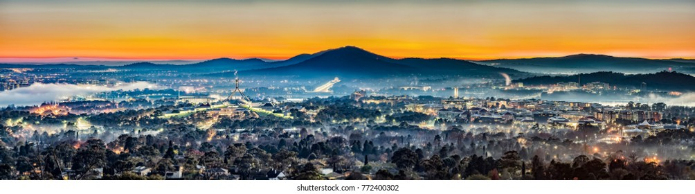 Panoramic View Dawn Skyline at Red Hill Lookout in Canberra