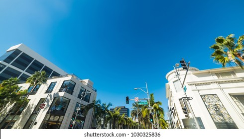 Panoramic view of Dayton way and Rodeo Drive crossroad in Beverly Hills, California
