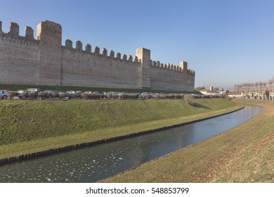 Panoramic view of defensive walls with towers and ditch at medieval city Cittadella, Veneto, Italy