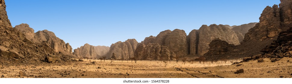 Panoramic view of the desert  formation in the Africa