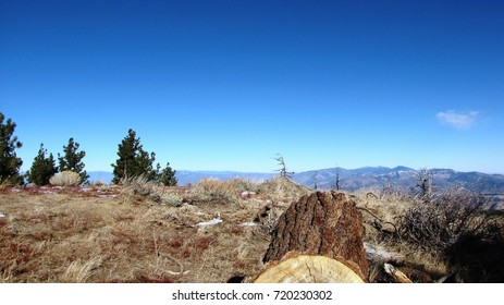 Panoramic view from a desert mountain peak, California