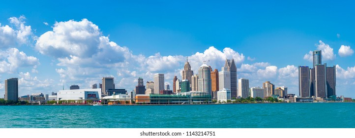 Panoramic view of Detroit skyline at daytime from Windsor, Ontario.