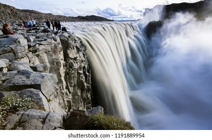 panoramic view of dettifoss waterfall - iceland