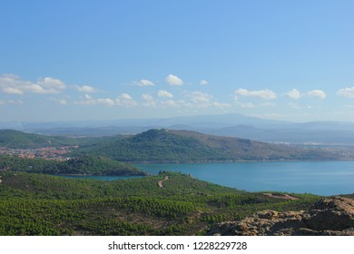 Panoramic view from Devil's Table in the southwest of Ayvalik county of Balikesir province.