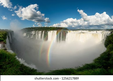 Panoramic View of Devil's Throat at the Iguazu Falls, One of New Seven Wonders of Nature of the World, Located in Argentina and Brazil