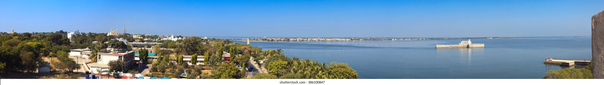 Panoramic view of Diu and Ghoghola from the wall of Diu fort. Diu, India