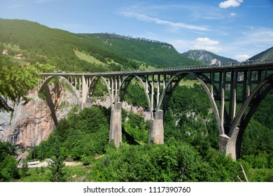 Panoramic view of the Djurdjevic bridge above Tara river, Montenegro.Old big bridge in Durdevica and fantastic view Tara river gorge - is the biggest one canyon in Europe in the national park Durmitor