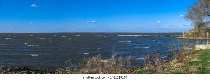 Panoramic view of the Dniester estuary near the Akkerman Fortress in Ukraine