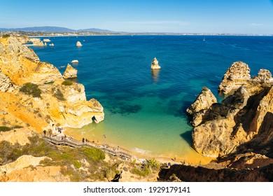 Panoramic View of Do Camilo Beach in Lagos, Algarve, Portugal