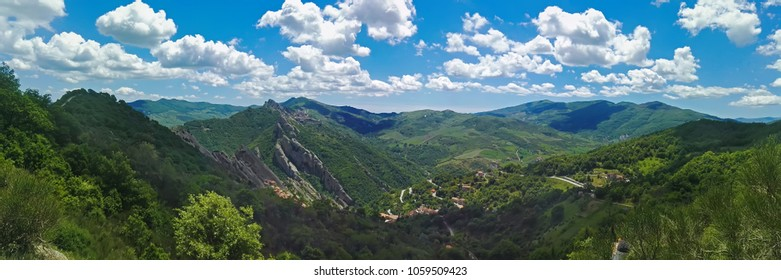 Panoramic view of the Dolomites lucane and the village of Pietrapertosa, Basilicata. Italy