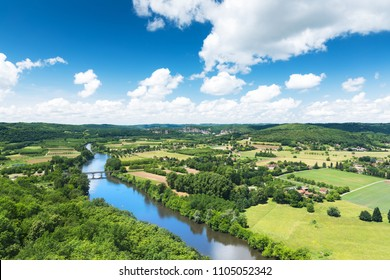 Panoramic view of Dordogne valley in France