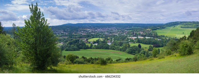 Panoramic View of Dorking in Surrey on a Sunny Summer Day