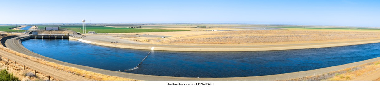 "Panoramic view of the ""Dos Amigos"" pumping plant which pushes water up hill on the San Luis Canal, part of the California Aqueduct system; Los Banos, central California"