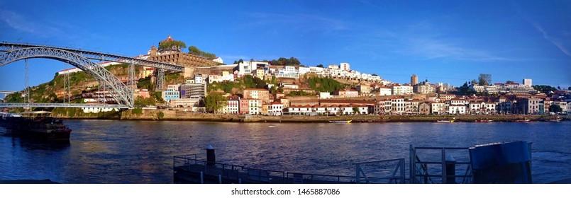 Panoramic view of Douro river near Ribeira in Oporto, Portugal
