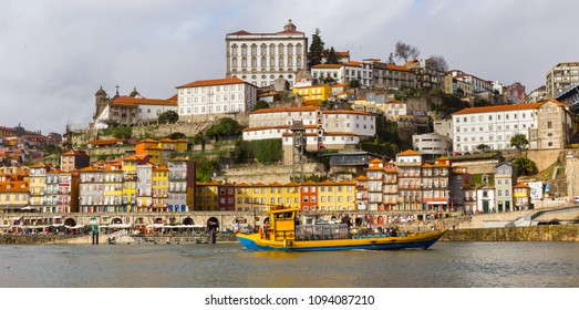 Panoramic view of Douro river and the quarter of Ribeira from Vila Nova de Gaia, Porto, in Portugal