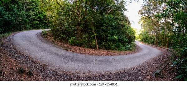 Panoramic view of down hill road on mountain in Chonburi, Thailand