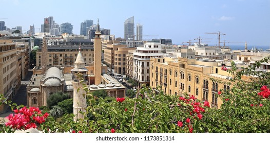 Panoramic view of downtown Beirut in the summertime