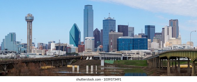 Panoramic view of downtown Dallas on a clear day.