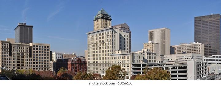 A panoramic view of downtown Dayton, Ohio.