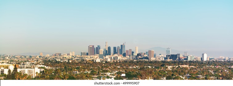 Panoramic view of Downtown Los Angeles toward twilight