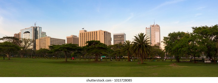 Panoramic view of downtown Nairobi and Central Park.