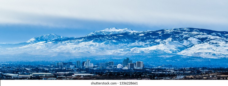 Panoramic view of downtown Reno in blue filter. February 2019.