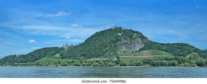 panoramic View to Drachenfels and Drachenburg Castle in Siebengebirge Mountain at Rhine River,North Rhine westphalia,Germany